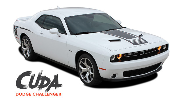 Dodge Challenger Factory OEM Style CUDA STROBE COMBO Strobe Hood and Side Vinyl Graphic Decal Stripes Kit 2008-2019 2020 2021