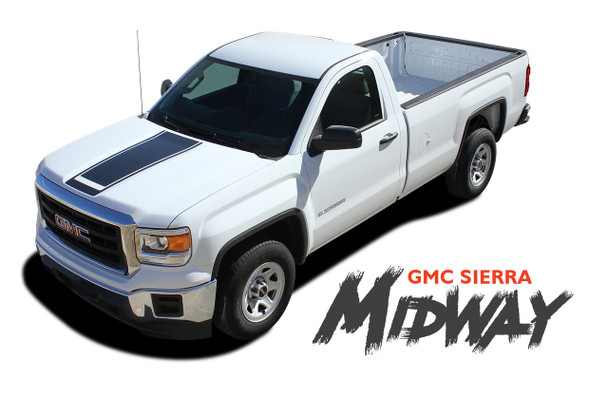 GMC Sierra SIERRA MIDWAY Center Hood & Tailgate Vinyl Graphic Decal Racing Stripe Kit for 2014 2015 2016 2017 2018