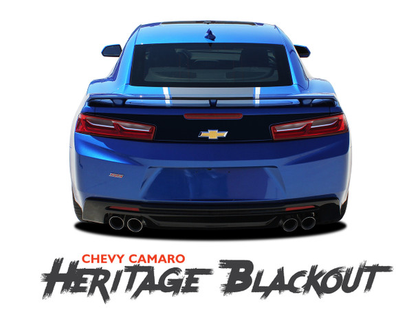 Chevy Camaro HERITAGE BLACKOUT Rear Trunk Blackout Vinyl Graphic Decals Kit fits 2016 2017 2018 SS RS V6 All Models