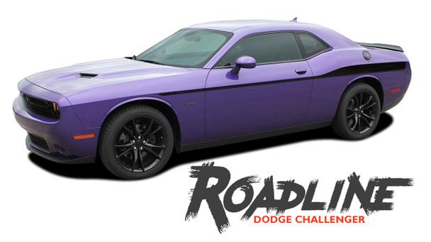Dodge Challenger ROADLINE Wide Upper Door Body Accent Decals Vinyl Graphics Side Stripes for 2008-2019 2020 2021 Models