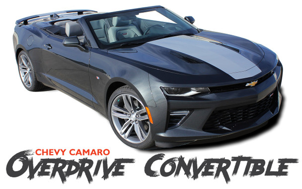 Chevy Camaro OVERDRIVE CONVERTIBLE Center Wide Hood Racing Stripes Rally Vinyl Graphics and Decals 2016 2017 2018 SS RS V6