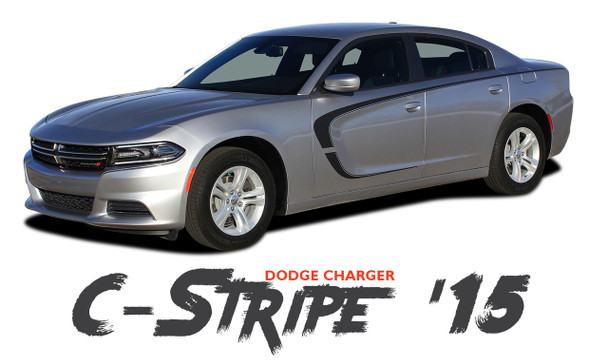 Dodge Charger C-STRIPE 15 Side Door Overlay Accent Vinyl Graphic Stripes Decals for 2015 2016 2017 2018 2019 2020 2021