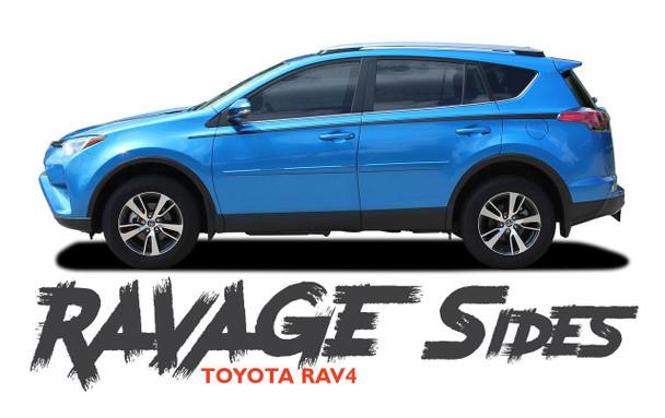 Toyota RAV4 Side Door Stripes RAVAGE SIDES Accent Trim Decals Vinyl Graphic Kit 2016 2017 2018 2019