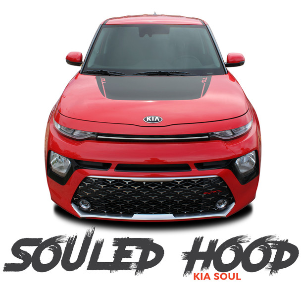 Kia Soul SOULED HOOD Decals Blackout Vinyl Graphic Stripes Kit for 2020 2021 2021
