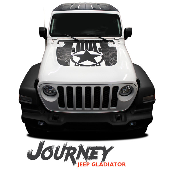 Jeep Gladiator JOURNEY Hood Decal Vinyl Graphics Decal Stripe Kit for 2020-2021 Models