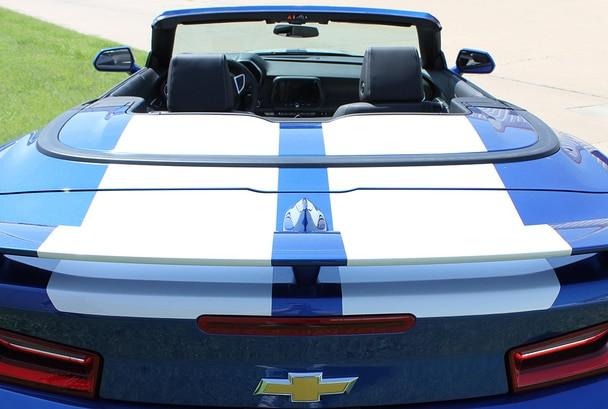 Rear view of Blue Camaro Convertible Dual Racing Stripes CAM SPORT 2016 2018