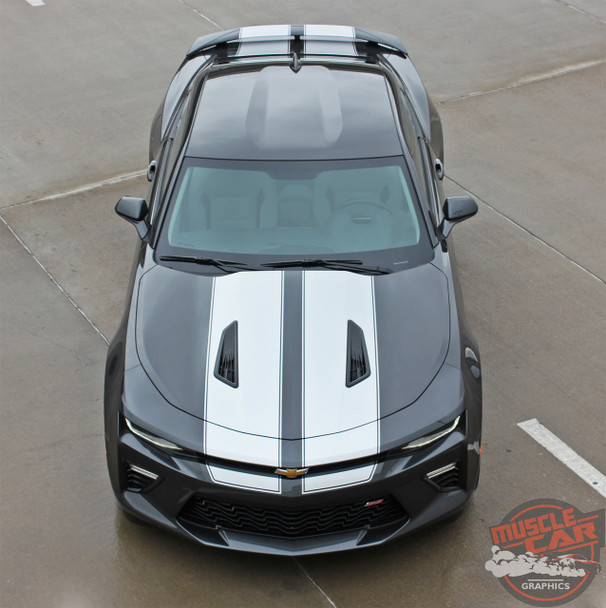 Front Top View of 2016 Camaro Rally Stripes CAM SPORT PIN 2016 2017 2018