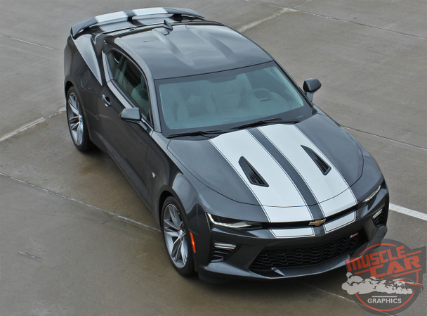 Front Passenger View of 2017 Chevy Camaro Racing Stripes CAM SPORT PIN 2016-2018
