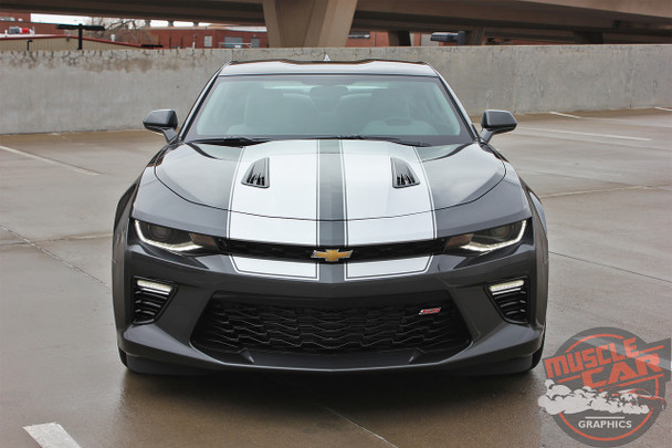 Front View of Camaro Racing Stripes CAM SPORT PIN 2016 2017 2018