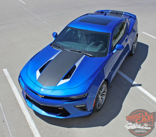Front angle view of 2016 Chevy Camaro Center Hood Graphics 3M HERITAGE 2017-2018