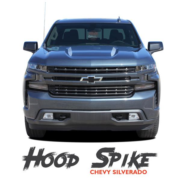 Chevy Silverado Hood Spear Stripes Hood Decals 1500 HOOD SPIKES Vinyl Graphic Kit fits 2019 2020 2021 (MCG-6877)
