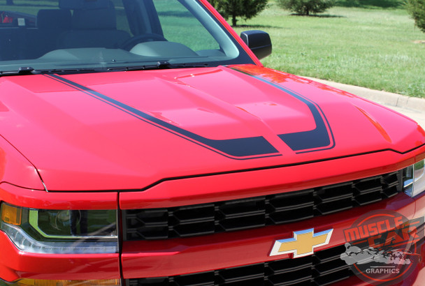 Hood Decals for Chevy Silverado FLOW HOOD 2016 2017 2018
