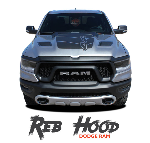 Dodge Ram REB HOOD Stripes Rebel 1500 Decals Accent Vinyl Graphics Kit 2019, 2020, 2021 Models