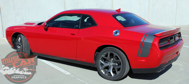View of Rear Red 2017 Dodge Challenger Rear Stripes TAIL BAND 2015-2020 2021