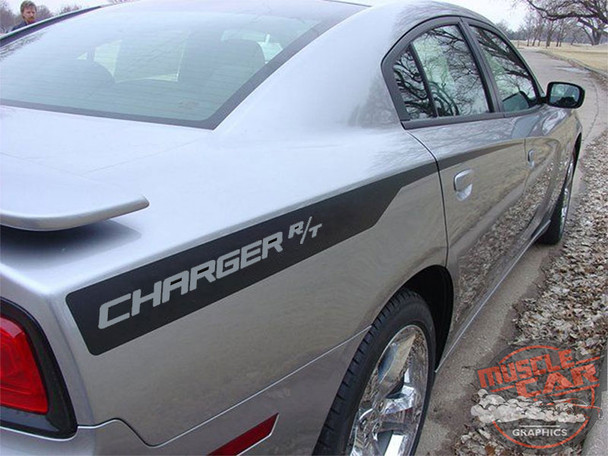 Rear Angle View of Dodge Charger With Stripes RECHARGE 2011 2012 2013 2014