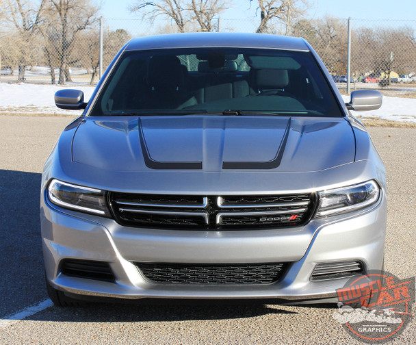 Front of silver SCALLOP COMBO 15 Dodge Charger C Hood Decals and Side Door Stripe Decals fits 2015-2020 2021