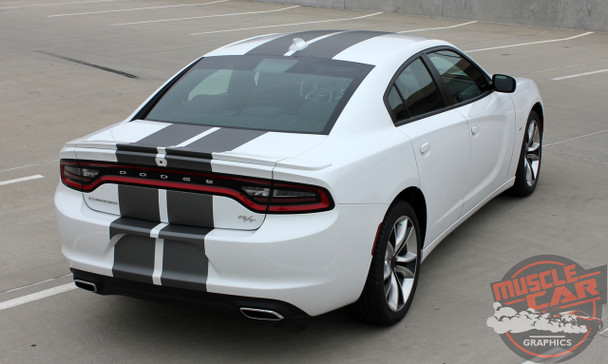 Rear angle view of 2018 Dodge Charger Blacktop Stripes N-CHARGE 15 2015-2020