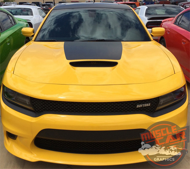Front View of Yellow 2019 Charger Hood Stripes CHARGER 15 HOOD 2015-2020 2021