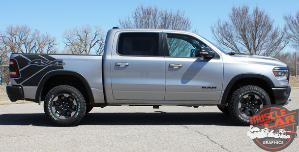 Side View of Ram with wheel moldings 2020 Ram 1500 Rebel REB SIDE Graphic Stripes 2019-2021