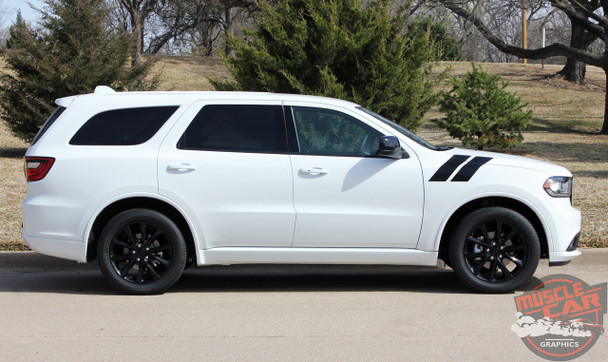 Front View of 2020 Dodge Durango Hood Decals DOUBLE BAR 2011-2019 2020 2021