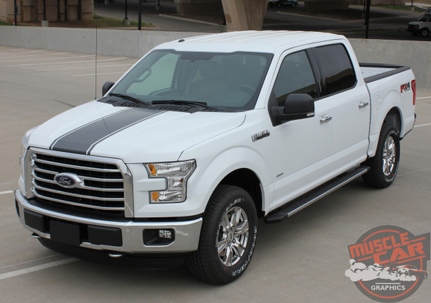 Front Angle View of 2017 Ford F 150 Graphics CENTER STRIPE 2015-2017