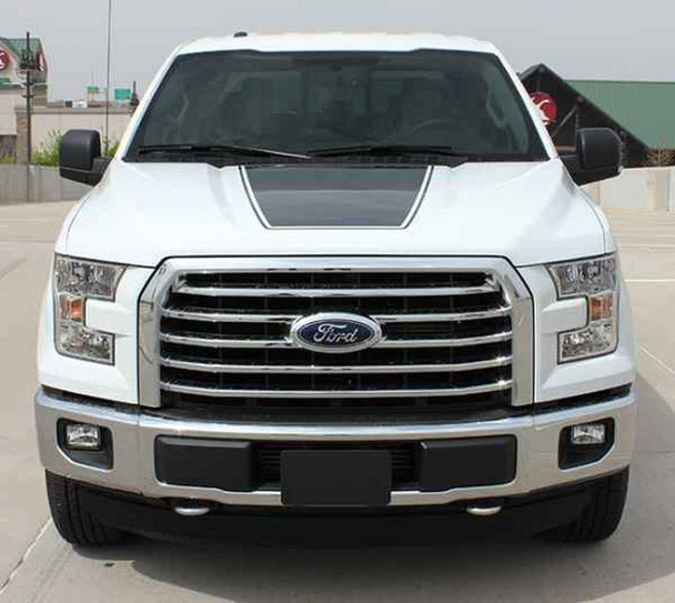 Front View of 2018 F150 Hood Decal 15 FORCE HOOD 2009-2017 2018 2019 2020
