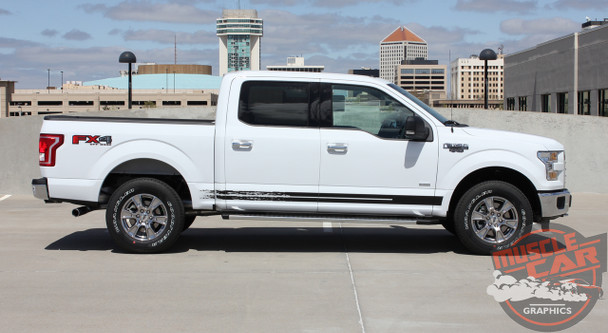 Side View of White 2017 Ford F150 Decals 150 BREAKUP ROCKER 2015-2020