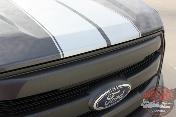 Front View of 2017 Ford F150 Rally Stripes F-RALLY KIT 2015-2017