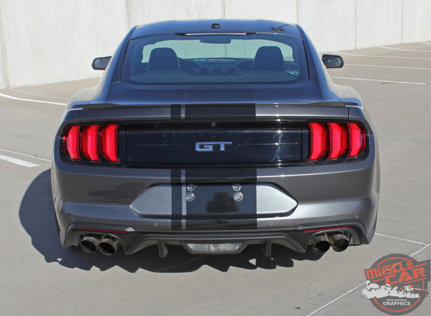 Rear view of EURO RALLY   2018 Ford Mustang Center Vinyl Graphic Stripe