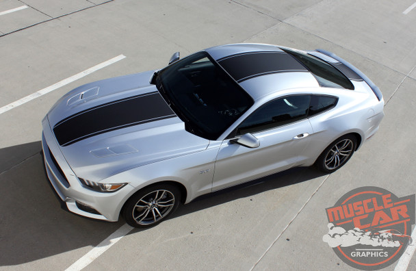 Top of Silver Ford Mustang Wide Center Vinyl Graphics MEDIAN 2015 2016 2017