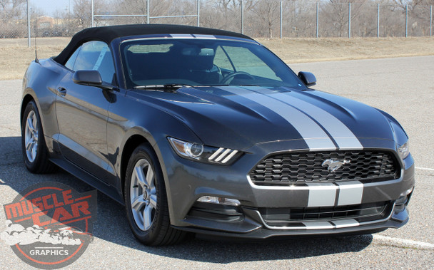 Front View of Ford Mustang Vinyl Graphics STALLION SLIM 2015 2016 2017