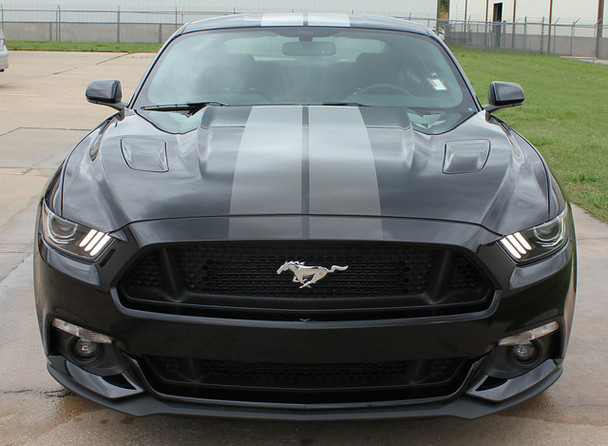 Front View of 2017 Ford Mustang FADED RALLY Racing Stripes 2015-2016-2017