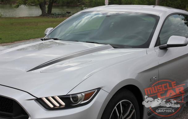 Front hood view of Faded Hood Stripes for 2016 Ford Mustangs HOOD SPEARS 2015-2017 Digital Print Vinyl