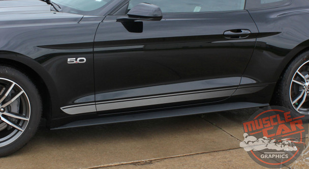 View of FADED ROCKER | Ford Mustang Stripe Silver & Mustang text 2015-2018 Digital Print Vinyl