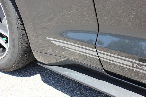 Close view of 2017 Ford Mustang Lower Faded Stripes TRILINE ROCKER 2015-2018 Digital Print Vinyl