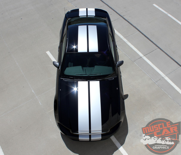 Top View of 2013-2014 Ford Mustang Racing Stripes Decals THUNDER KIT