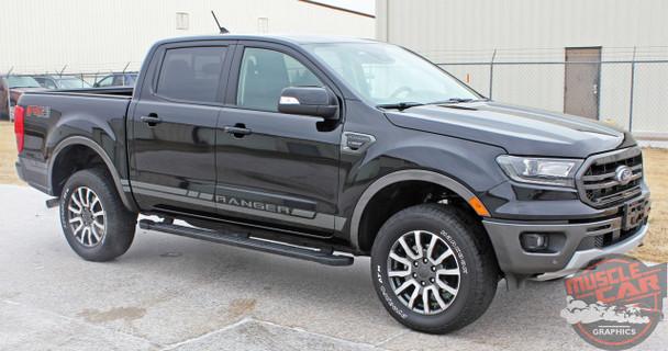 Side of 2019 Ford Ranger Side Decals RAPID ROCKER STRIPES 2019-2020 2021