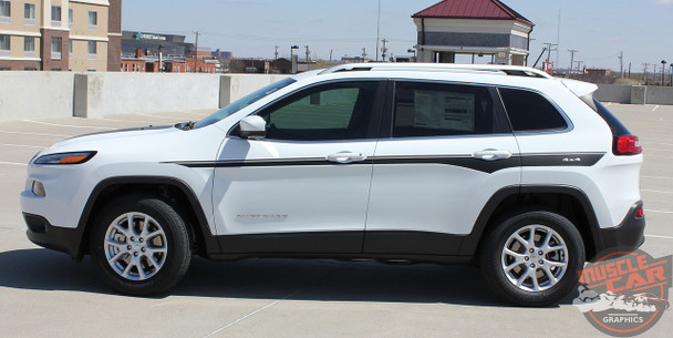 Side View of White 2018 Jeep Cherokee Stripes CHIEF 2014-2018 2019 2020