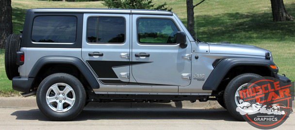 Side View of 2019 Jeep Wrangler Side Graphics ADVANCE SIDE KIT 2018-2020 2021