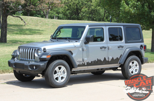 Side View of 2018 Jeep Wrangler Side Decals SCAPE SIDE KIT 2019 2020 2021