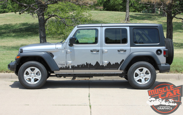 Side View of 2019 Jeep Wrangler Side Decals SCAPE SIDE KIT 2018-2020 2021