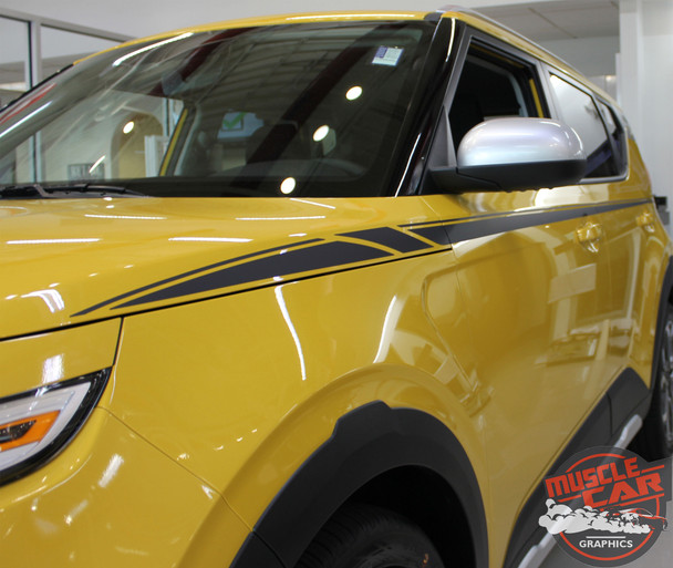 Front angle of Yellow 2020 2021 Kia Soul Side Decals OVERSOUL