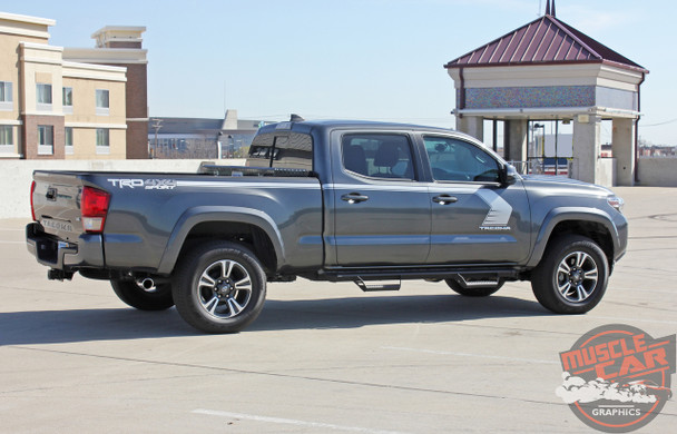 Rear angle view of 2018 Toyota Tacoma Side Stripes STORM 2015-2020