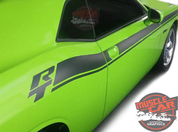 Side View of Green 2017 Dodge Challenger RT Stripes DUEL 15 2015-2019 2020 2021