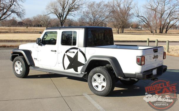 Side of White Gladiator ALPHA STAR SIDE : 2020 Jeep Gladiator Side Stripes Kit 2020-2021