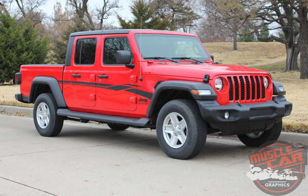 Side of Red Jeep Gladiator - MEZZO SIDE KIT : 2020 Jeep Gladiator Side Decals Kit 2020-2021