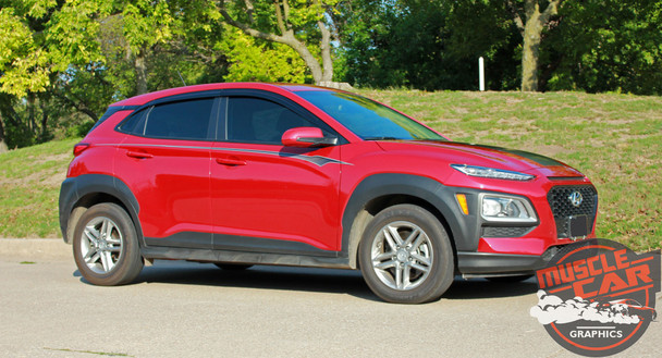 Side view of digital  2020-2021 Hyundai Kona Side Decals BOLT KIT Premium Products!