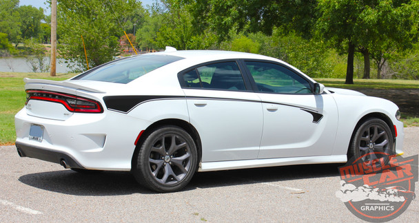 Side View of 2019 Dodge Charger Body Line Stripes RILED SIDE KIT 2015-2021