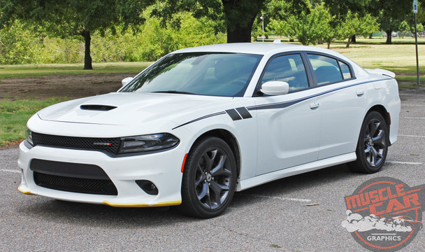 Side of white 2020 Dodge Charger Side Body Graphics FIERCE 2015-2021