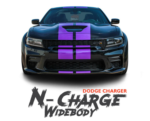 Dodge Charger N-CHARGE WIDEBODY S-PACK R/T Scat Pack SRT 392 Hellcat Racing Stripe Rally Hood Vinyl Graphics Decals 2015 2016 2017 2018 2019 2020 2021